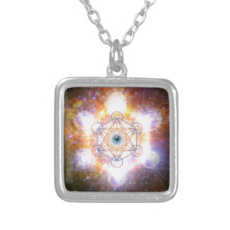 """""""Aad Guray Nameh""""-Protective Mantra-Merkaba Square Pendant Necklace"""