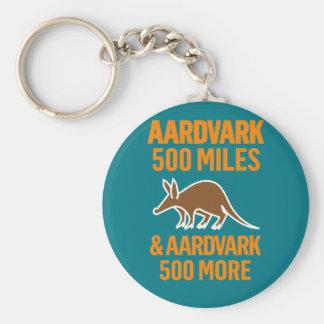Aardvark 500 Miles funny pun Basic Round Button Key Ring