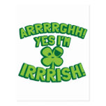 AARGHH YES I'm IRISH with a pirate SHAMROCK Postcards