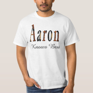 Aaron, Knows Best  Logo, Mens White T-shirt