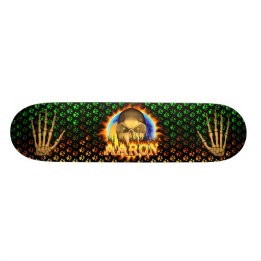 Aaron skull real fire and flames skateboard design