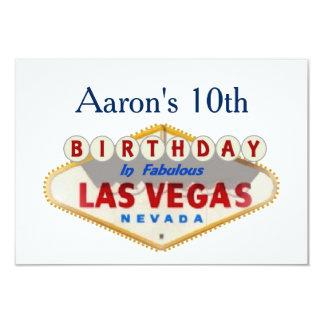 Aaron's 10th Las Vegas Birthday Card 9 Cm X 13 Cm Invitation Card