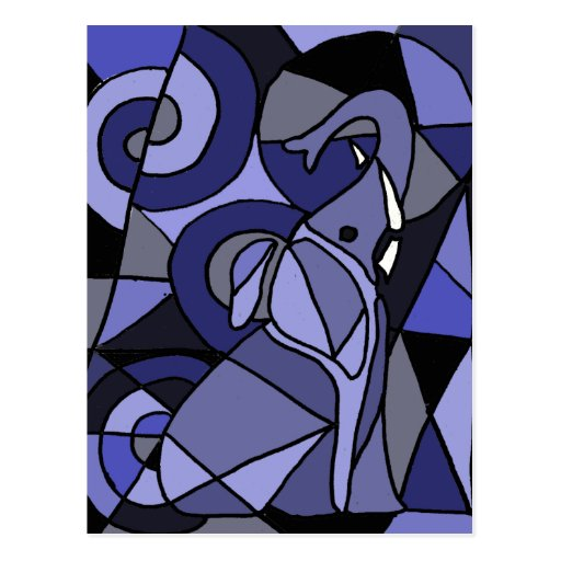AB- Abstract Art Elephant Post Cards