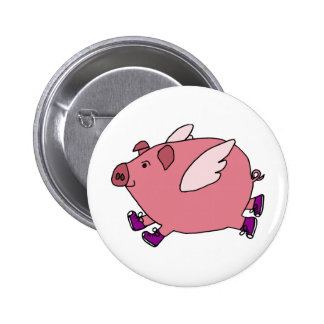 AB- Funny Flying Pig with Sneakers 6 Cm Round Badge