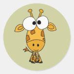 AB- Funny Giraffe Cartoon Round Stickers
