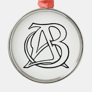 AB Monogram Christmas Ornament