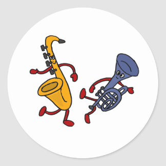 AB Saxophone and Trumpet Dancing Cartoon Classic Round Sticker