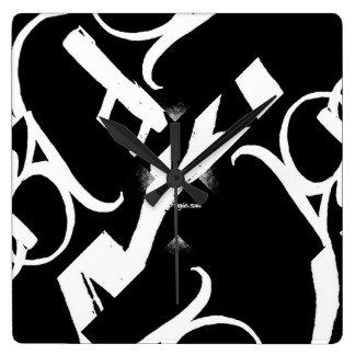 """ABA"" CLOCK (12/3/6/9 wht on blk) by ArtBuyAngie™"