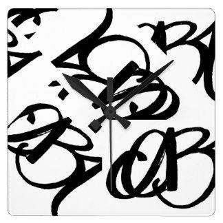 """""""ABA"""" CLOCK (black on white) by ArtBuyAngie™"""