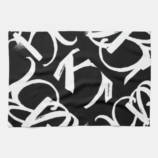 """""""ABA"""" KITCHEN TOWEL(white on black)by ArtBuyAngie™ Hand Towels"""