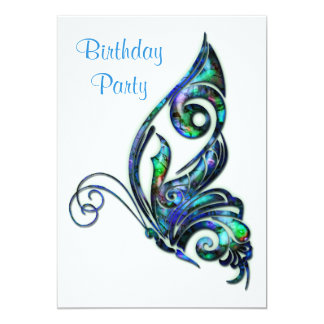 Abalone Shell Art Deco Butterfly Birthday Party Card