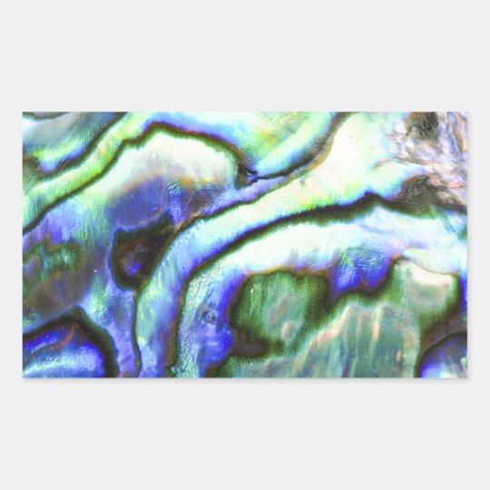 Abalone shell green blue paua rectangular sticker