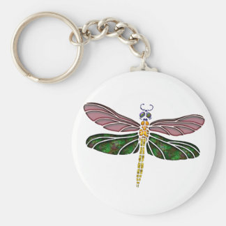 Abalone Shell & Stained Glass Dragonfly Basic Round Button Key Ring