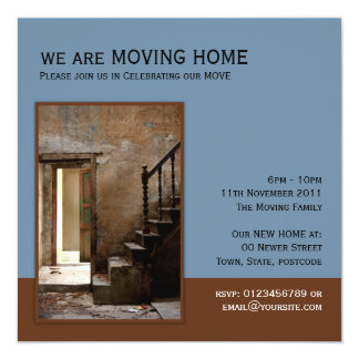 Abandoned blue Moving Home 13 Cm X 13 Cm Square Invitation Card
