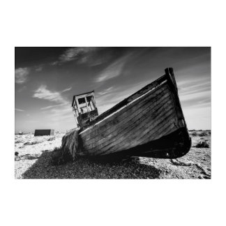 Abandoned Boat On Dungeness Beach Acrylic Wall Art