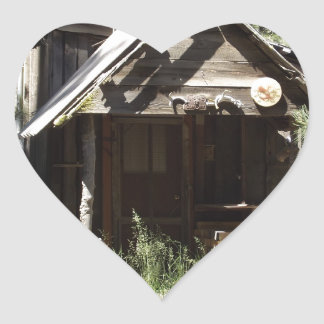 Abandoned Cabin in the Woods Heart Sticker