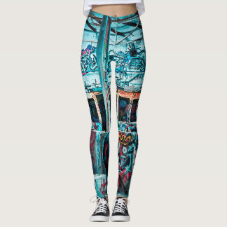 Abandoned Graffiti Street Art Wall Leggings