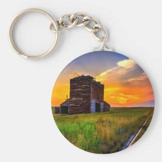 Abandoned Grain Elevator at Sunset Keychains
