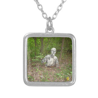 Abandoned in the Forest Square Pendant Necklace