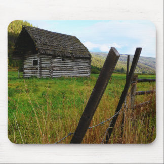 Abandoned Old Barn in Rural Field with Fence Mouse Mat