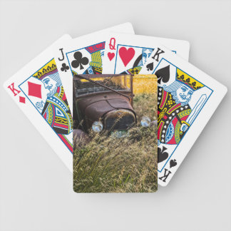 Abandoned old car in tall grass bicycle playing cards