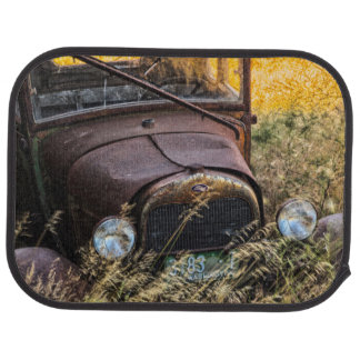 Abandoned old car in tall grass car mat