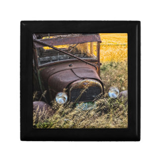 Abandoned old car in tall grass gift box