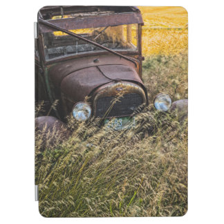 Abandoned old car in tall grass iPad air cover