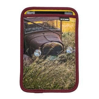 Abandoned old car in tall grass iPad mini sleeve