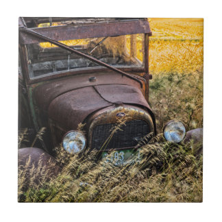 Abandoned old car in tall grass small square tile