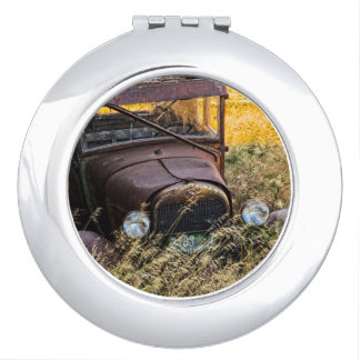 Abandoned old car in tall grass travel mirror