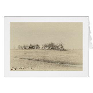 Abandoned Prairie Homestead In Sepia Tones #4B Card