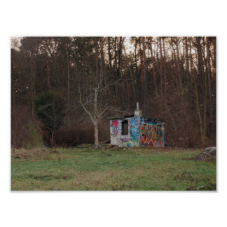 Abandoned punks hut artistic photo polish forest poster
