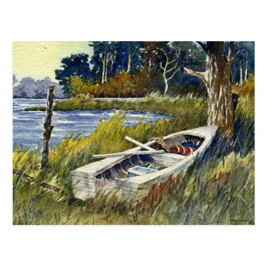 Abandoned Rowboat- postcard