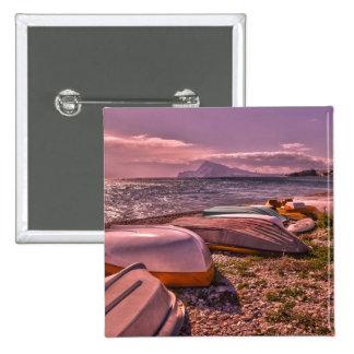 Abandoned Rowing Boats | L'Olla Beach, Altea 15 Cm Square Badge