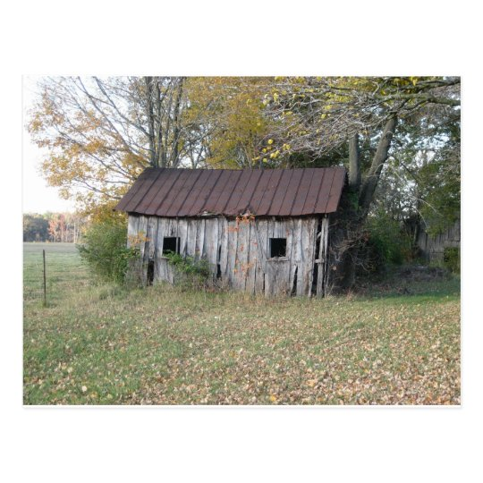 abandoned shed postcard