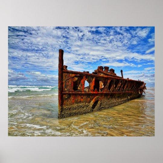 Abandoned Ship Fraser Island Australia Poster
