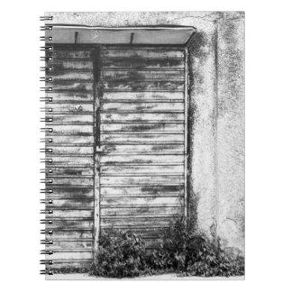 Abandoned shop forgotten bw spiral notebook