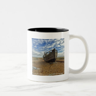 Abandoned Wooden Fishing Boat   Dungeness Two-Tone Coffee Mug