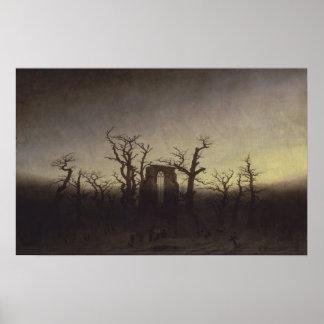 Abbey among Oak Trees by Caspar David Friedrich Poster