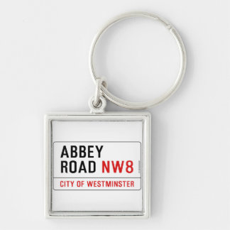 Abbey Road Street Sign Silver-Colored Square Key Ring