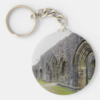 Abbey ruins basic round button key ring