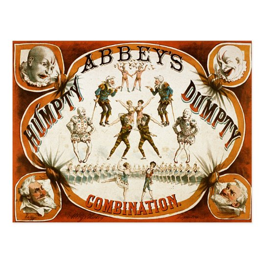 Abbey's Humpty Dumpty Combination Circus Poster Postcard