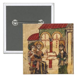 Abbot John offering manuscript Benedict 15 Cm Square Badge