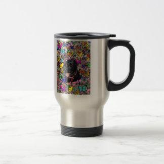 Abby in Butterflies - Black Lab Dog Coffee Mug