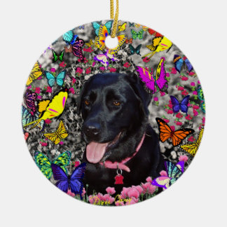 Abby in Butterflies - Black Lab Dog Round Ceramic Decoration