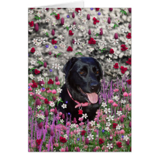 Abby in Flowers – Black Lab Dog Note Card