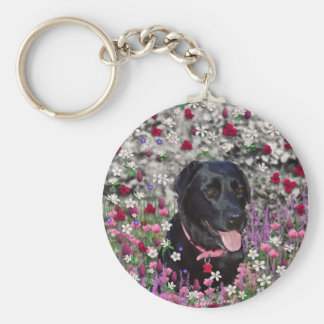 Abby in Flowers – Black Lab Dog Key Chains