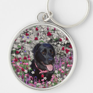 Abby in Flowers – Black Lab Dog Key Chain