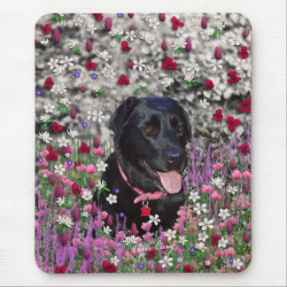 Abby in Flowers – Black Lab Dog Mousepads
